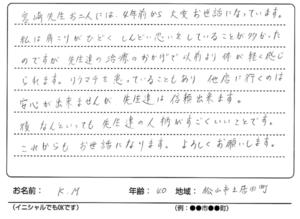 松山市K.Mさんからのメッセージ