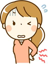 腰に痛みのある女性イラスト